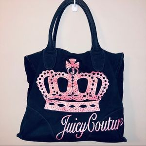 Juicy Couture Crown Logo Rhinestone Study Tote Bag
